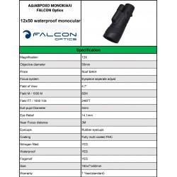 FALCON OPTICS ΜΟΝΟΚΙΑΛΙ SCOUT 12x50, Black